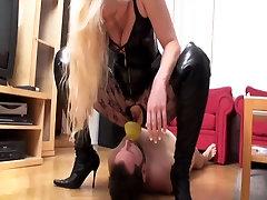 Femdom ladies order slaves to drink their piss