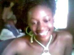 Ebony girl masturbating on webcam