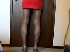 Playing With My Balls in Short Skirt and Pantyhose