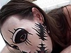 A Masked Whore is Slurping a Dong Before it Opens and Fills her Pussy