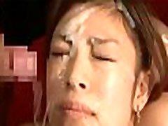 Asian honey gives cook jerking and footjob in bukkake scenes