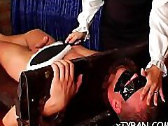 Sexy babe gets her big love bubbles played wit wax in bdsm session