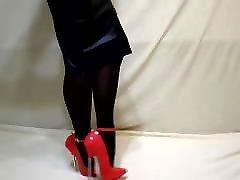 Extreme heels, leather skirt and mfc sparklelulu pantyhose