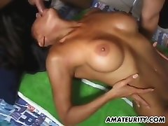 Hot fuck infront of parent Asian girlfriend home action with cum