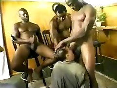 Three Blacks Fuck a Chubby