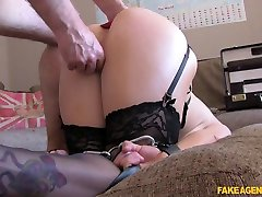 Rebecca in Double penetration for big titted blonde in BDSM style adult casting - FakeAgentUk