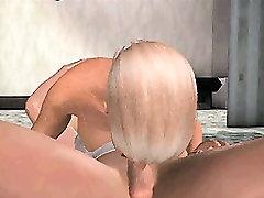 Sexy 3D cartoon blonde sucks cock and gets fucked