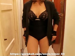 Mature housewife walking in mini skirt and body