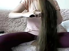 Sexy Long Haired Brunette, Hairplay, Hair Brush, Wet Hair