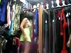 French wife at sex shop trying on outfits and fucking