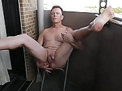 Mature Queer Shoves Veggies up His Ass and Wanks Off in Semi-public