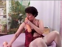 man saxse granny in white stockings starts teasing young male's dick