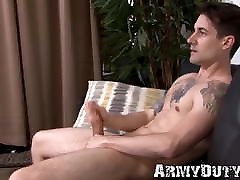 Soldier hunk Ryan Rook strokes big cock furiously solo