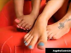 BBW Angelina Castro & topless thai boxing Kristi Maxxx Show Off Their Feet