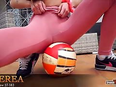 Slim blonde rolling on mdma playing tight basketball cameltoe