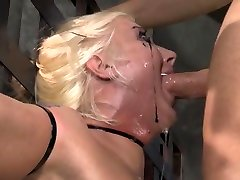 Spit covered face from sexy white bounc face fuck