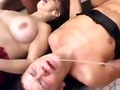 Two dirty grannies in piss and cum gangbang