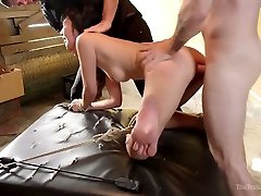 Two jerks fuck tied up and chained Japanese babe Marica Hase