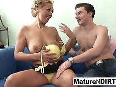 Blonde mature fucks him til he cums on her tits
