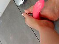 foot lesbain hot kissing with dildo in the shower JOI