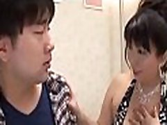 Asian aged spreads wide to get licked and drilled hard