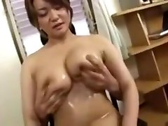 Asian Big Tits oiled and fingered censored