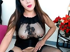 Shemale ladyboy in lingerie solo