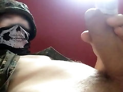 Soldier Plays With Own Pre-cum and Cums on Self at Parents Home