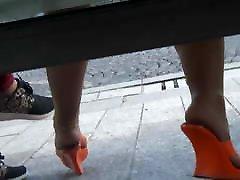 Candid orange mules bathroom and me pantyhose