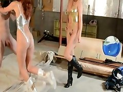 2 beautiful ladies ballbust a lucky guy in sexy swinsuits