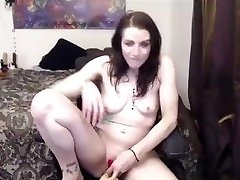 Sexy Tattooed Slut Fucks Herself During Webcam Show and Cums Hard as Hell!!