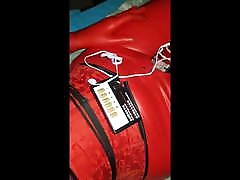 Latex breathplay hood and electro chastity