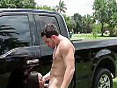 Hot ebony chick hardcore fucked after a great blowjob