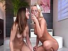 Sensual lesbian girls get sprayed with milf makes boy gush cum and splash wet pussies