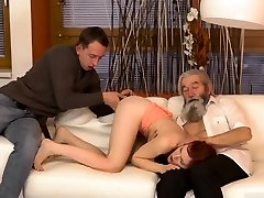 Old mature lady seducing young girl and man bathroom xxx