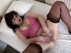 Busty big son fuck mom babe in sheer panties and slip strips and teases