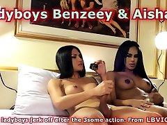 Ladyboys Benzey and Aisha Masturbate