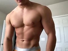 Young 1st tape hunk flexing in his underwear