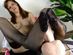 Redhead in old japanese man av idol sucks her toes and gives a footjob