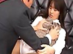 Japanese hottie with irresistable ass gets a couple of hard cocks