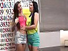 Encnating teen rubs her wet love tunnel and gives thick pole a handjob