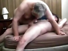 Grey old mature fat grandpa playing with a junior boy