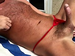 sunbathing horny hairy daddy