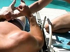 Gay twink feet fuck ass Zack & Mike - Jackin by the Pool