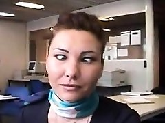 Air hostess flashing awesome tits and ass to colleagues