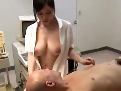 Asian Nurse With Natural Big Tits Fucks Old Patient