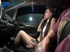 Schoolgirl College Coed Dick-Flashing in Car