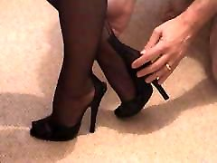 Girlfriend&039;s step mom friend in Mules and FF Nylons
