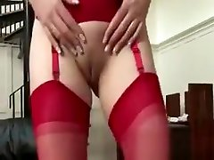 Mature young boy and thick milf lady in red stockings fucking amateur