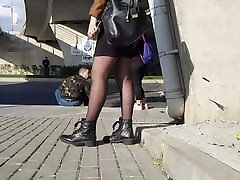 Slutty Blonde in shiny black pantyhose